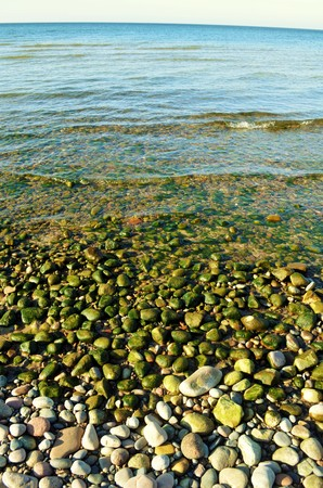 submersion: Rocky beach flooded with water and planted by algae