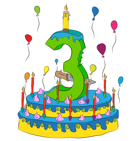 third birthday: Birthday Cake With Number Three Candle, Celebrating Third Year of Life, Colorful Balloons and Chocolate Frosting Illustration