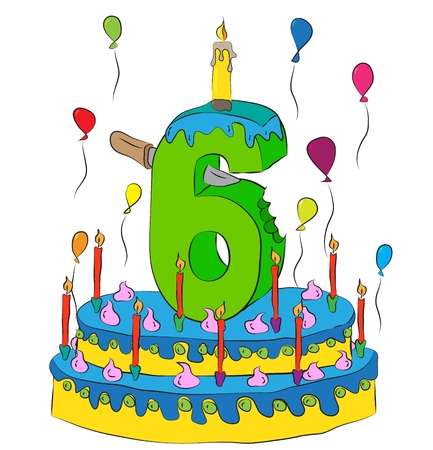 Birthday Cake With Number Six Candle, Celebrating Sixth Year of Life, Colorful Balloons and Chocolate Frosting Illustration