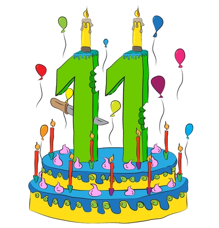 Birthday Cake With Number Eleven Candle, Celebrating Eleventh Year of Life, Colorful Balloons and Chocolate Frosting