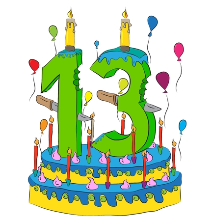 superstitious: Birthday Cake With Number Thirteen Candle, Celebrating Thirteenth Year of Life, Colorful Balloons and Chocolate Frosting Illustration