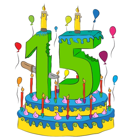 fifteen: Birthday Cake With Number Fifteen Candle, Celebrating Fifteenth Year of Life, Colorful Balloons and Chocolate Frosting Illustration