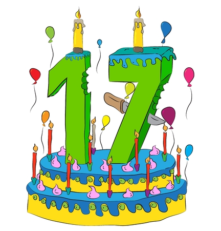 sweet seventeen: Birthday Cake With Number Seventeen Candle, Celebrating Seventeenth Year of Life, Colorful Balloons and Chocolate Frosting Illustration