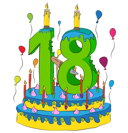 Birthday Cake With Number Eighteen Candle, Celebrating Eighteenth Year of Life, Colorful Balloons and Chocolate Frosting