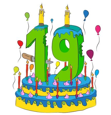 Pastel de cumpleaños con número 19 Vela, celebración del decimonoveno año de vida, globos de colores y glaseado de chocolate Foto de archivo - 88102841