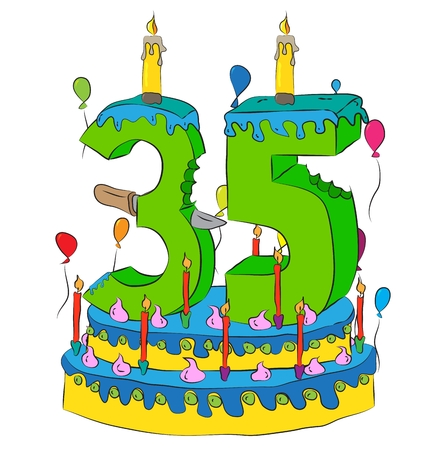 35 Birthday Cake With Number Thirty Five Candle, Celebrating Thirty-Fifth Year of Life.
