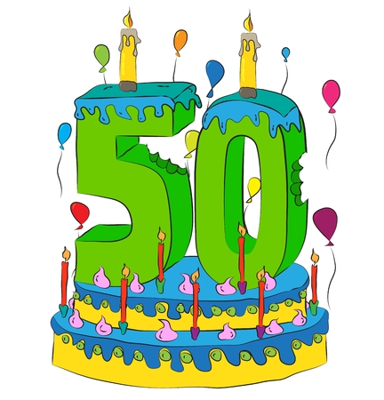 50 Birthday Cake With Number Fifty Candle, Celebrating Fiftieth Year of Life, Colorful Balloons and Chocolate Frosting Illustration