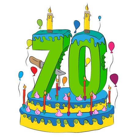 70 torta di compleanno con numero di settanta candele, festeggia il settantesimo anno di vita, palloncini colorati e glassa di cioccolato Archivio Fotografico - 90775586