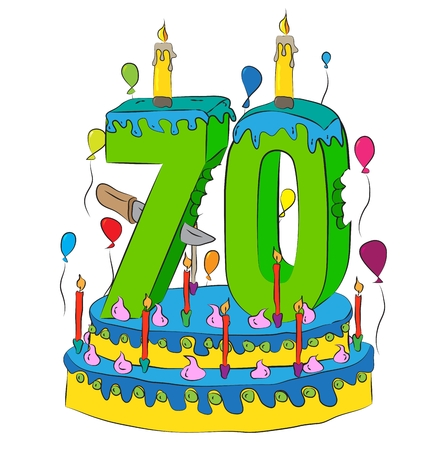 70 Birthday Cake With Number Seventy Candle, Celebrating Seventieth Year of Life, Colorful Balloons and Chocolate Frosting