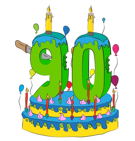 90 Birthday Cake With Number Ninety Candle, Celebrating Ninetieth Year of Life, Colorful Balloons and Chocolate Frosting