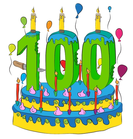 100 Birthday Cake With Number Hundred Candle, Celebrating Hundredth Year of Life, Colorful Balloons and Chocolate Frosting