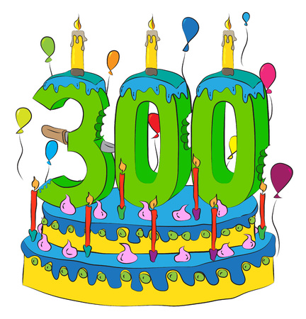 300 Birthday Cake With Number Three Hundred Candle, Celebrating Three Hundredth Year of Life, Colorful Balloons and Chocolate Frosting
