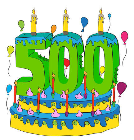 500 Birthday Cake With Number Five Hundred Candle, Celebrating Five Hundredth Year of Life, Colorful Balloons and Chocolate Frosting