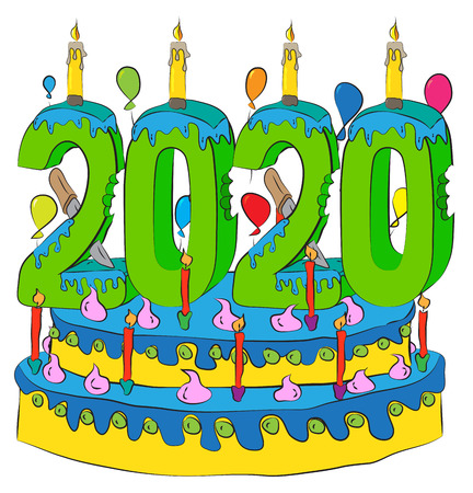 Birthday Cake With New Year Number 2020 Candle, Celebrating 2020 New Year, Colorful Balloons and Chocolate Frosting Illustration