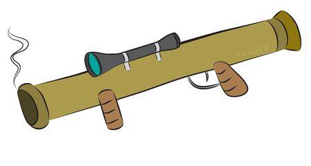 Bazooka rocket launcher weapon with targeting optcis.