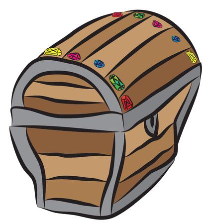 Pirates treasure chest with diamonds. Иллюстрация