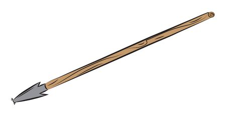 Spear weapon with wooden shaft pounded on target.