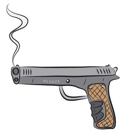 Pistol gun, after shooting. Ilustrace