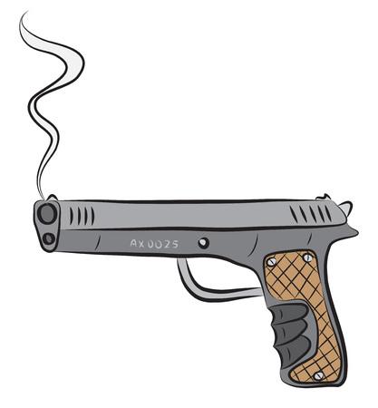 Pistol gun, after shooting. Illustration