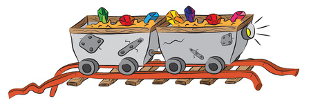Mining carts on railway loaded by precious crystals ore.