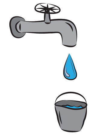 Water drop leaking from tap in to metal bucket.