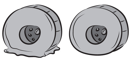 Truck wheels, flat tire and good wheel. Illustration