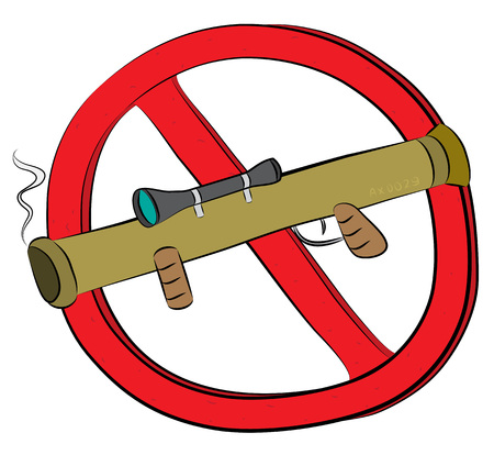 Rocket launcher  bazooka not allowed sign.