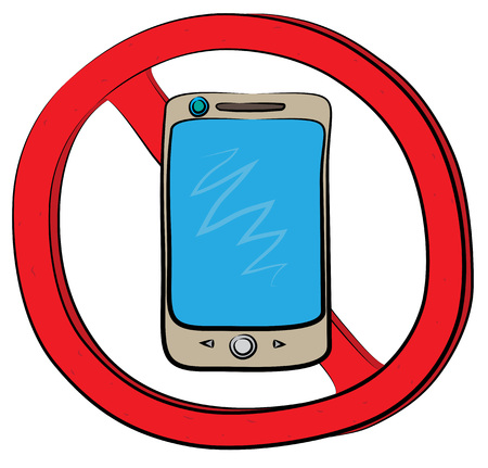 Smartphone not allowed sign. Illustration