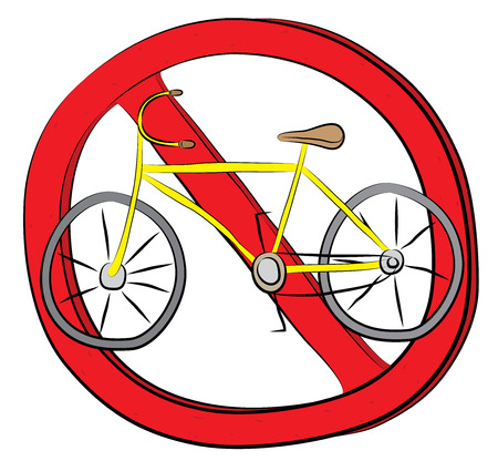 Bike riding not allowed sign.