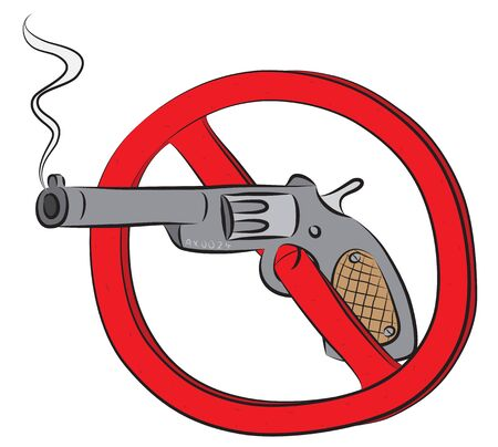 Revolver gun not allowed sign.