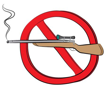 Rifle gun not allowed sign.