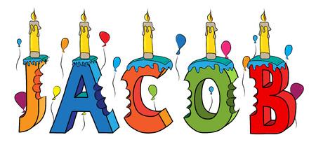 Nombre mordido colorido 3d letras torta de cumpleaños con velas y globos.