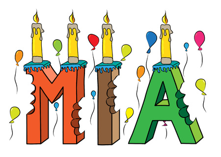 Mia first name bitten colorful 3d lettering birthday cake with candles and balloons.