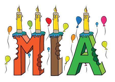 Nombre de Mia mordido colorido pastel de cumpleaños de letras 3d con velas y globos.