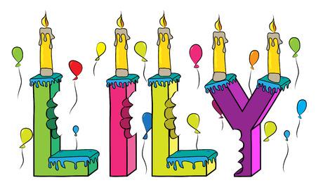 O primeiro nome do lírio mordeu o bolo de aniversário colorido da rotulação 3d com velas e balões.