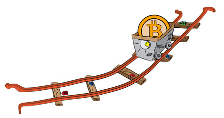 Mining cart on railway loaded with precious bitcoin.