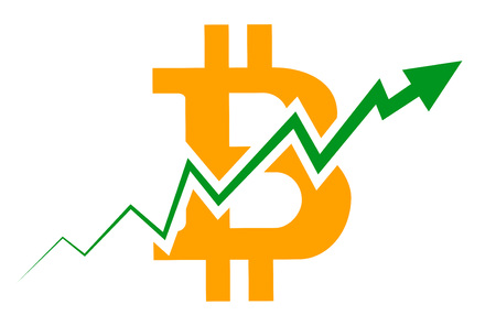 Bitcoin index rating go up on exchange market. Illustration