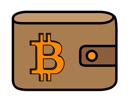 Bitcoin logo with shadow carved in leather wallet cover.
