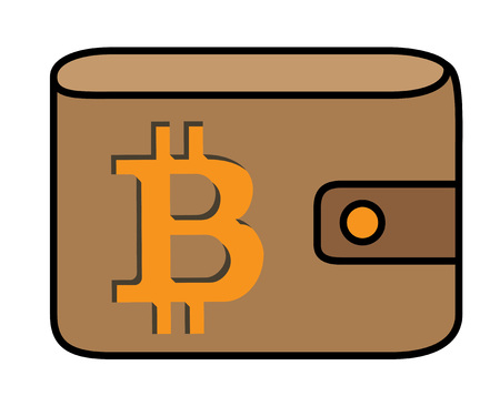Bitcoin logo with shadow carved in leather wallet cover, no outline