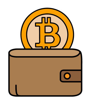 Bitcoin coin behind the leather wallet.