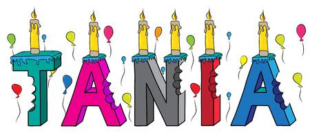TaNIA nombre femenino mordido colorido 3d letras pastel de cumpleaños con velas y globos