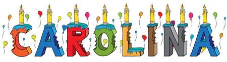 Torta di compleanno variopinta pungente dell'iscrizione 3d di nome della femmina della Carolina prima con le candele e gli aerostati.