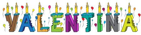 Valentina femmina nome morso colorato lettering torta di compleanno 3d con candele e palloncini.