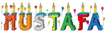 Lettering on birthday cake with candles and balloons. Illustration