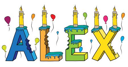 Alex nombre masculino mordido colorido 3d letras pastel de cumpleaños con velas y globos.