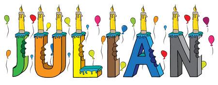 Julian nome maschile pungente colorato 3d lettering torta di compleanno con candele e palloncini.