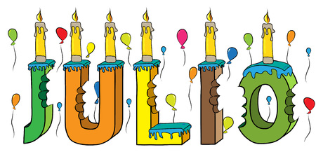 Julio name with colorful 3d lettering birthday cake with candles and balloons. Illustration