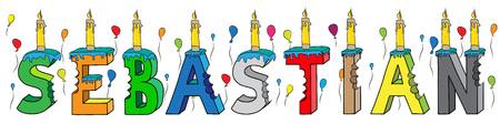 Nome Sebastian con 3d colorato lettering torta di compleanno con candele e palloncini.