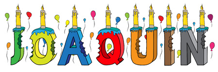 Joaquin name with colorful 3d lettering birthday cake with candles and balloons.