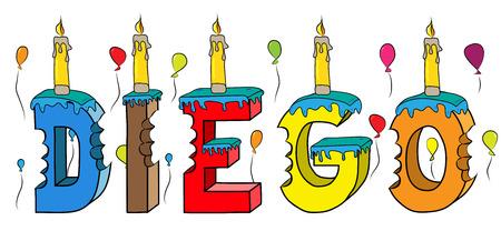 Nome di Diego con la torta di compleanno variopinta dell'iscrizione 3d con le candele e gli aerostati.